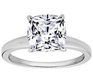 Diamonique Cushion 100-Facet Solitaire Ring, Platinum Clad - J112406