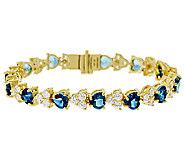 Judith Ripka Sterling & 14K Clad 8 Heart Tennis Bracelet - J320306
