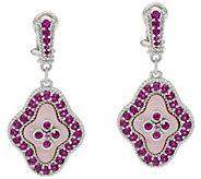 Judith Ripka Sterling_Pink Mother of Pearl & Rhodolite Earrings - J334206