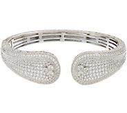 Judith Ripka Sterling Silver Pave Diamonique Cuff Bracelet - J348006