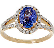 0.90 ct Tanzanite & 1/4 cttw Diamond Ring 14K Gold - J354106