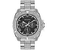 Bulova Mens Swarovski Crystal Black Dial Watch - J378506