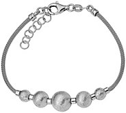 Italian Silver Brushed Beaded Bracelet Sterling, 7.5g - J379706