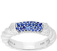 Judith Ripka Sterling Pave-Set Blue Sapphire Stack Ring - J380006