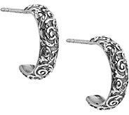 American West Sterling Diamond Cut Scroll HoopEarrings - J380306