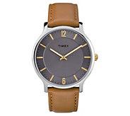 Timex Mens Metropolitan Brown Leather Strap Analog Watch - J380606