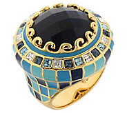 Lauren G Adams Goldtone Checkerboard Enamel Cocktail Ring - J383406