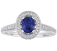 14K Gold 0.90 cttw Sapphire and 1/2 cttw Diamond Halo Ring - J392506