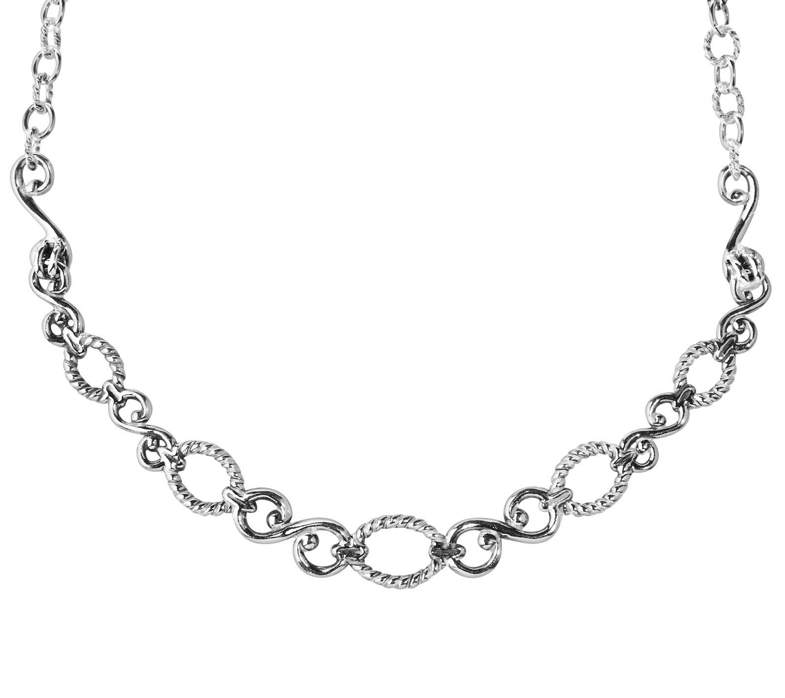 Carolyn Pollack Sterling Silver Scroll Ribbed Pendant Enhancer