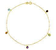 9 1.25 cttw Gemstone Station Bead Chain AnkleBracelet, 14K - J336407