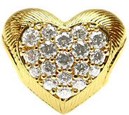 Judith Ripka Sterling 14K Clad Diamonique Puffed Heart Charm - J339907