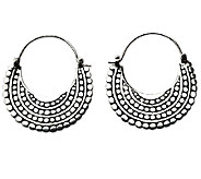 Novica Artisan Crafted Sterling Crescent Hoop Earrings - J341207