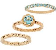 Gemstone Byzantine Stack Rings, 14K - J355607