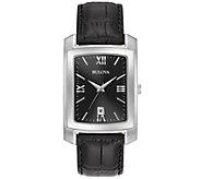 Bulova Mens Classic Black Leather Strap Watch - J375107