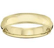Mens 18K Yellow Gold 5mm Milgrain Wedding Band - J376207