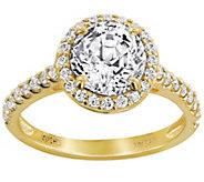 Diamonique 100-Facet Round Halo Ring, 14K Gold - J384607