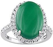 14K Gold 6.00 cttw Chalcedony & 3/8 cttw Diamond Halo Ring - J385307