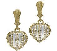 Judith Ripka 14K Clad Crystal Quartz Heart Earrings - J385407