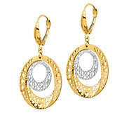 Italian Gold Two-Tone Disk Leverback Earrings,14K Gold - J385707