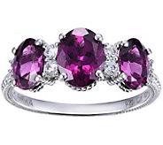 Judith Ripka Sterling Purple Rhodolite Garnet 3-Stone Ring - J385807