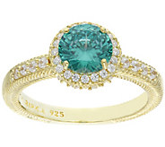 Judith Ripka 14K Clad Round Diamonique Halo Ring - J387807