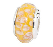 Prerogatives Sterling Yellow with White FlowersGlass Bead - J109308
