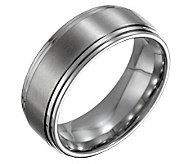 Forza Mens 8mm Steel Satin and Polished Ring - J109508