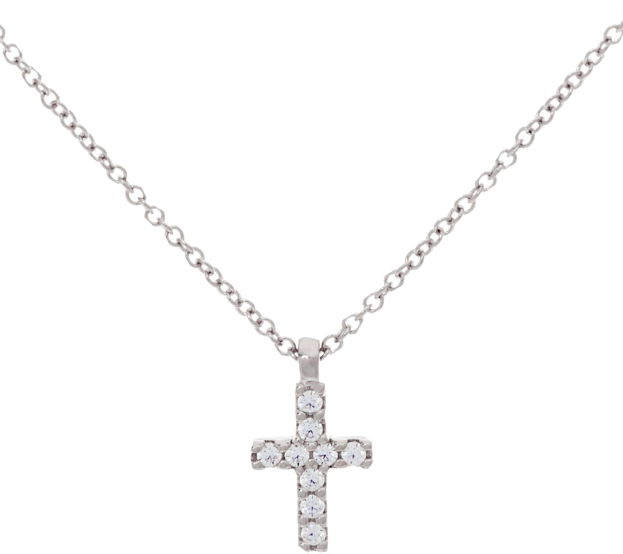 Diamonique Cross Pendant w Chain Sterling or 14K Clad Page 1