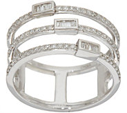 Baguette & Round Multi-Row Ring, Sterling 1/3 cttw by Affinity - J348808