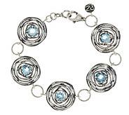 As Is Or Paz Sterling Blue Topaz Textured Bracelet - J350008