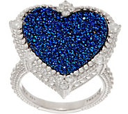 Judith Ripka Sterling Blue Drusy Heart Ring - J352308