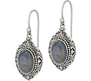 Artisan Crafted Sterling Silver Cabochon Gemstone Drop Earrings - J354608