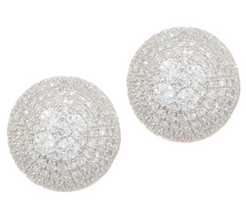 Affinity Diamond 3/4 cttw Round Pave' Stud Earrings Sterl