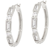 Diamonique Baguette and Round 1 Hoop Earrings, Sterling Silver - J357408