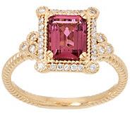 Judith Ripka 14K Gold Pink Tourmaline Ring, 1.50 cttw - J358508