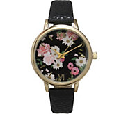 Olivia Pratt Womens Floral Dial Leather Watch - J379408