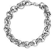 Italian Silver Interlocking Link Bracelet Sterling, 9.8g - J379808
