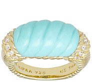 Judith Ripka 14K Gold-Clad Turquoise Carved Stone Ring - J390808