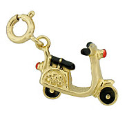 Red and Black Enamel Scooter Charm, 14K Gold - J300109