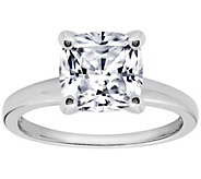 Diamonique Cushion 100-Facet Solitaire Ring, Platinum Clad - J305509