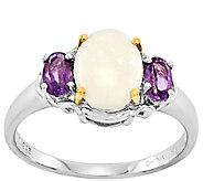Sterling/14K Opal Cabochon & Amethyst Ring - J336609
