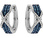 Blue & White Diamond Earrings, Sterling, 1/4 cttw, by Affinit - J344109