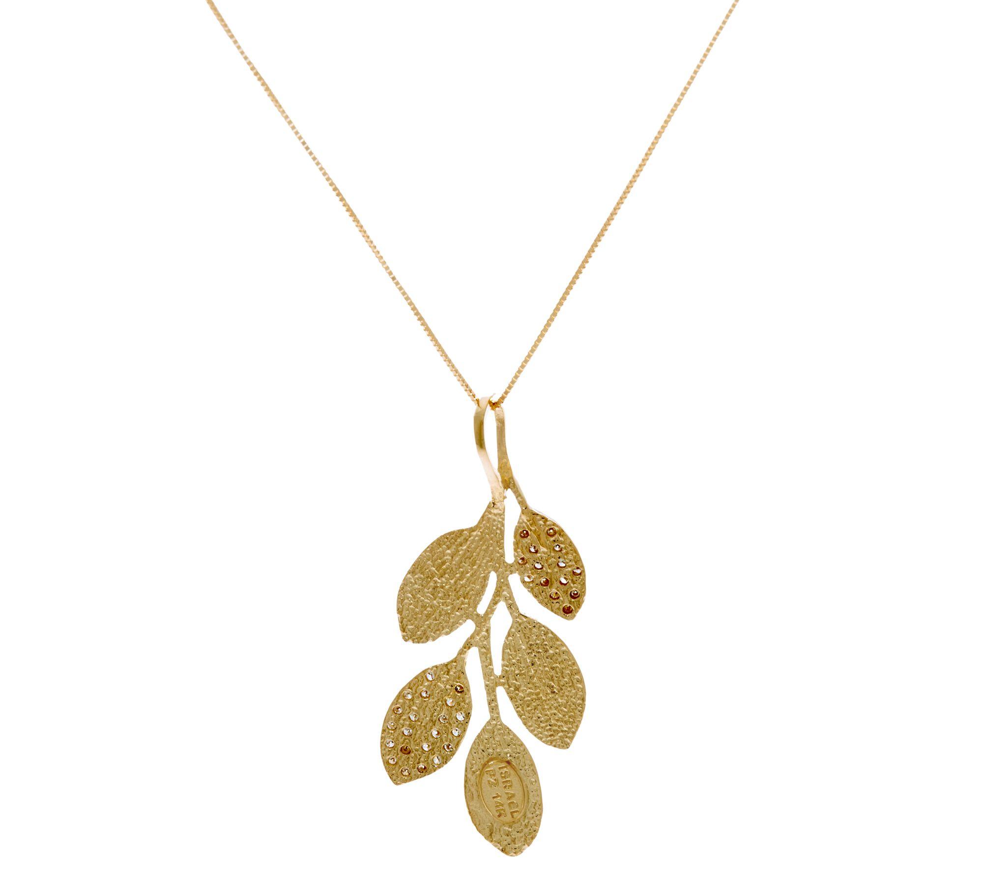 Adi Paz 1 5 cttw Diamond & 14K Gold Leaf Pendant with Chain Page