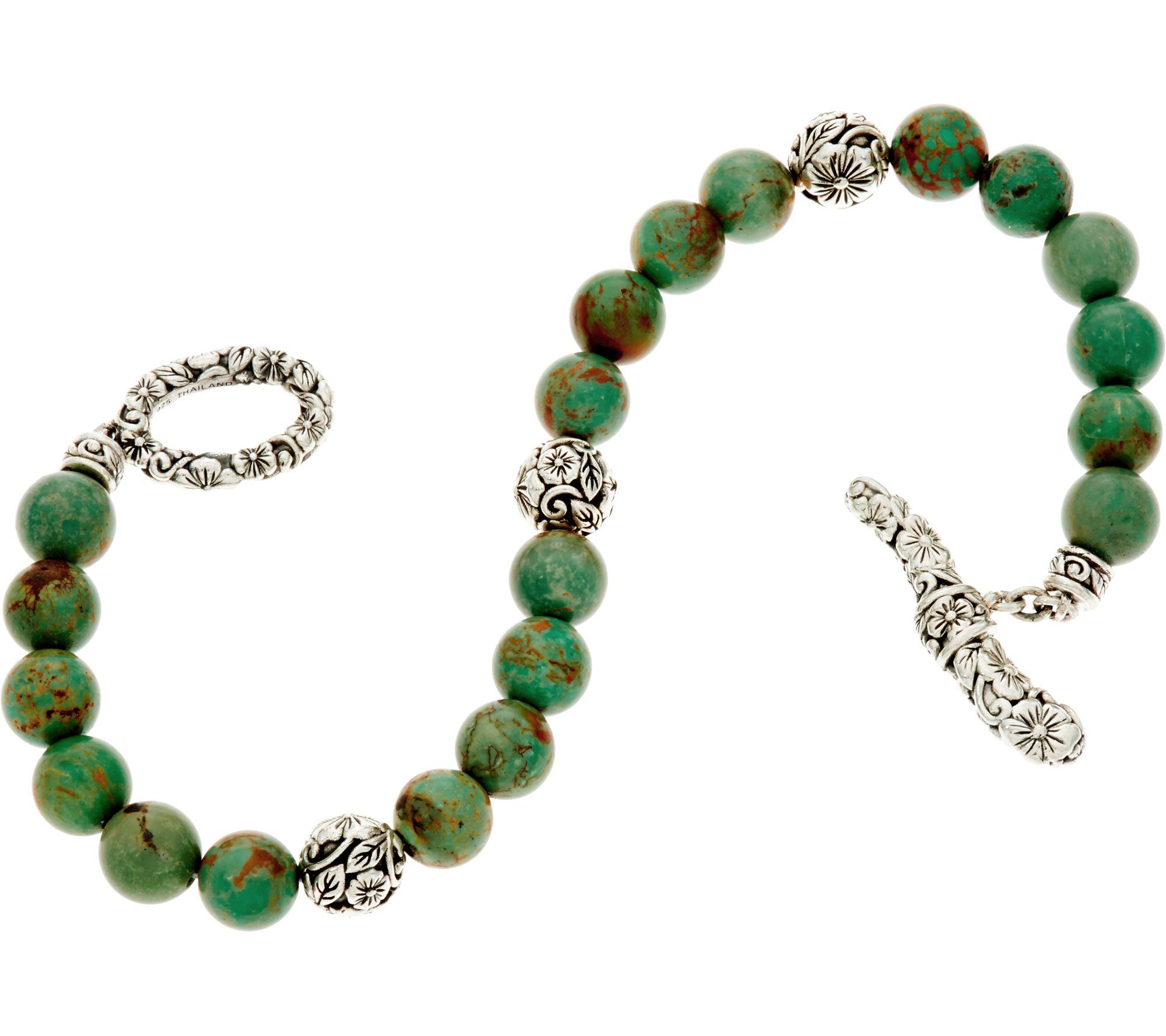 Jai Sterling Silver Carved Fl Turquoise Bead Bracelet J348409