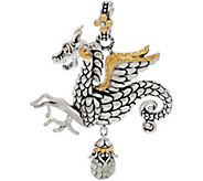 Barbara Bixby Sterling & 18K Dragon Enhancer with Pave White Topaz Drop - J351009