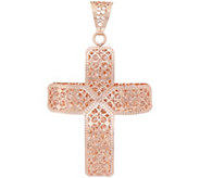 Italian Gold Cross Pendant, 14K Rose Gold - J353709