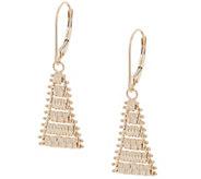 Imperial Gold Satin Lame Dangle Earrings, 14K Gold - J356009