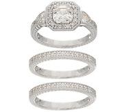 Diamonique Three Piece Halo Ring Set, Sterling Silver - J356209