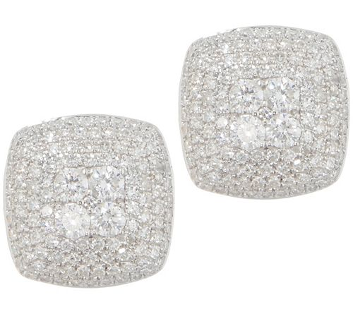 Affinity Diamond 3/4 cttw Cushion Pave' Sterl. Earrings