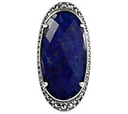 Suspicion Sterling Oval Lapis Doublet & Marcasite Halo Ring - J385109